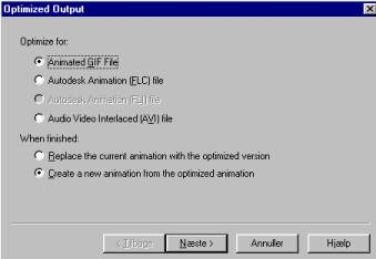 Animated Gif File + Create a new animation.... er valgt